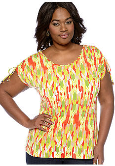 Madison Plus Size  Shirred Sleeve Top