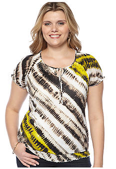 Madison Plus Size Mesh Peasant Top