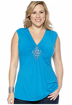 Madison Plus Size Sleeveless Embellished Top