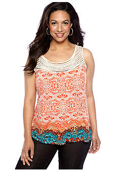 Madison Plus Size Crochet Trim Tank