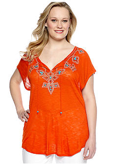 Madison Plus Size Beaded Raglan Sleeve Top