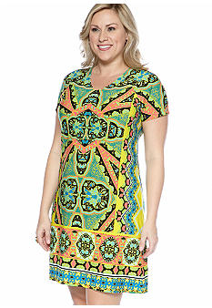 Madison Plus Size Cap Sleeve V Neck Print Dress