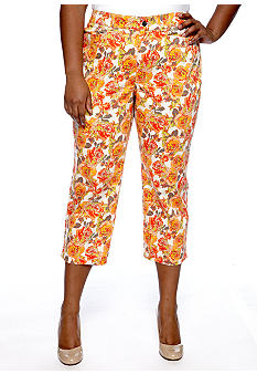 Madison Plus Size Printed Floral Capri
