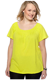 Madison Plus Size Smocked Neck Knit Top