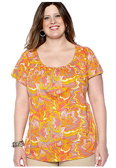Madison Plus Size Knit Top With Smocked Neckline