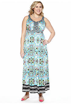 Madison Plus Size Mix Print Maxi Dress