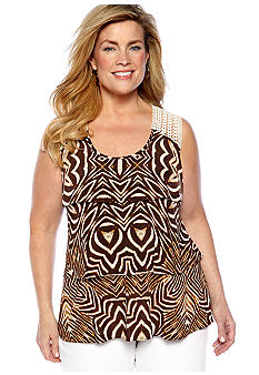 Madison Plus Size Tiered Animal Print Top with Crochet Detail