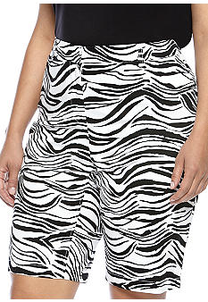 Madison Plus Size Zebra Print Bermuda Short