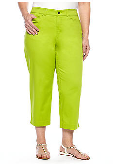 Madison Plus Size Solid Twill Crop Pant