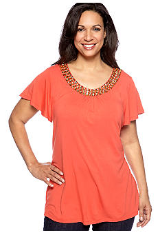 Madison Plus Size Knit Short Sleeve Top