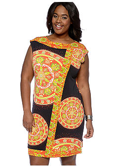 Madison Plus Size Scarf Print Dress