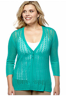 Madison Plus Size Pointelle Cardigan