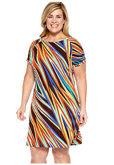 Madison Plus Size Ruched Sleeve Dress