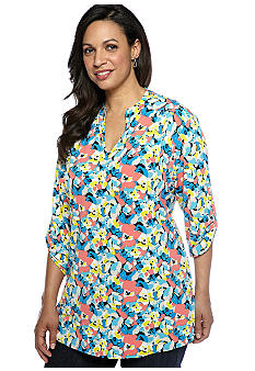 Madison Plus Size Jersey Roll Tab Tunic