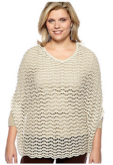Madison Plus Size Lurex Open Stitch Poncho
