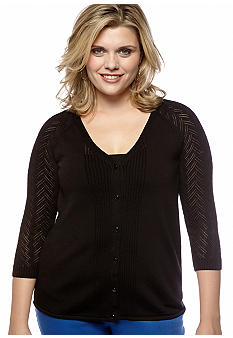 Madison Plus Size Long Sleeve Woven Cardigan