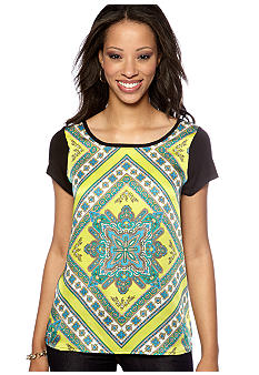 Madison Petite Scarf Print Top