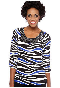 Madison Petite Embellished Neckline Printed Tee