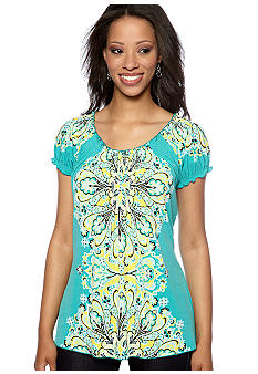 Madison Petite Printed Short Sleeve Smock Neck Tee