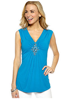 Madison Petite Sleeveless Embellished Top