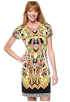 Madison Petite Ruched Sleeve Status Print Dress