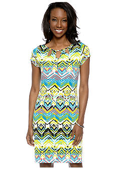 Madison Petite Printed Cut-Out Dress