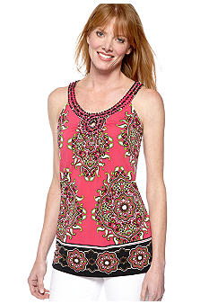 Madison Petite Printed Top with Embellished Neckline
