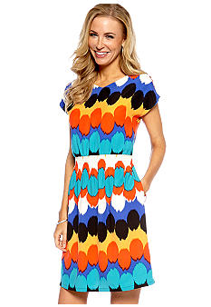 Madison Petite Double V-Neck Dot Dress