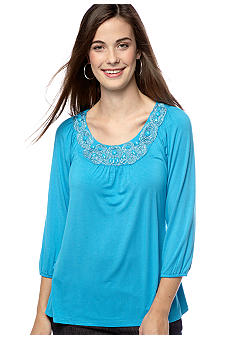 Madison Petite Embellished Neckline Tee