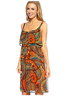 Madison Petite Printed Popover Dress