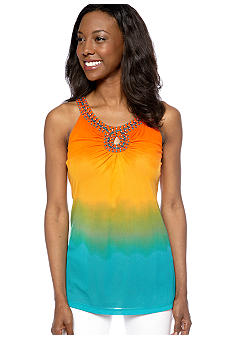 Madison Petite Hi Low Beaded Ombre Top