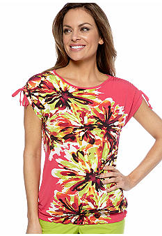 Madison Petite Ruched Tie Sleeve Top