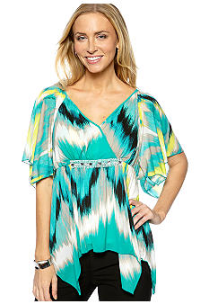 Madison Petite Flutter Sleeve Mesh Print Top with Sequins