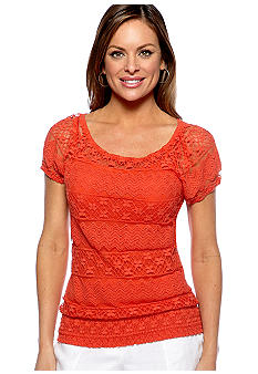 Madison Petite Cap Sleeve Lace Top