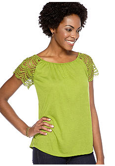 Madison Petite Crochet Sleeve Top