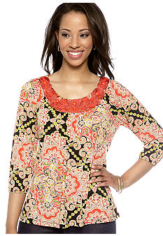 Madison Petite Embellished Neck Printed Top