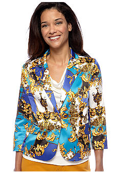 Madison Petite 3/4 Sleeve Scarf Print Jacket
