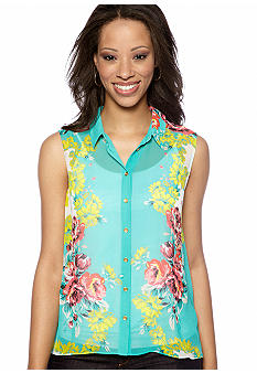 Madison Petite Flower Print Hi-Low Chiffon Blouse