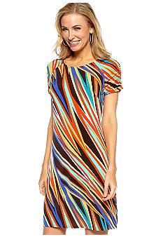Madison Petite Ruched Sleeve Color Bolt Dress