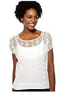 Madison Petite Boxy Flower Embroidered Top