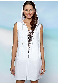 Kim Rogers Sleeveless Zip Puff Cover-Up