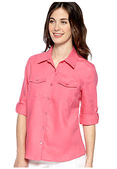 Kim Rogers® Petite Linen Button Down Top with Patch Pockets