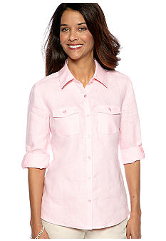 Kim Rogers Petite Linen Button Down Top with Patch Pockets