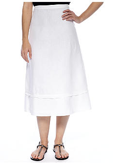 Kim Rogers Petite Linen Tiered Skirt with Georgette Trim