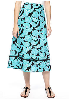 Kim Rogers Petite Printed Linen Tiered Skirt with Georgette Trim
