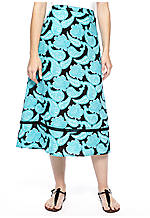Kim Rogers® Petite Printed Linen Tiered Skirt with Georgette Trim