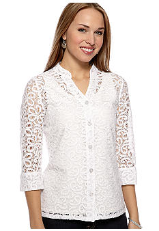 Kim Rogers Petite Lace Button Front Shirt Jacket