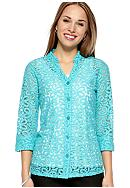 Kim Rogers® Petite Lace Button Front Shirt Jacket