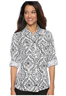 Kim Rogers Petite Printed Button Down Top with Patch Pockets