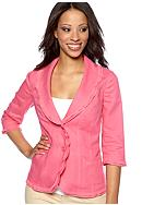 Kim Rogers® Petite Linen Jacket with Georgette Trim